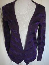 FULL CIRCLE PURPLE SPARKLE COTTON ANGORA SOFT STRIPED CARDIGAN UK 8 VGC