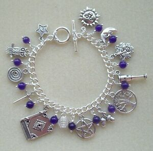 Pentagram Sun Moon Purple Amethyst 13 Charm Bracelet Wicca Pagan Witch