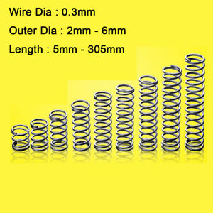 Wire Dia 0.3mm Compression Expanding Pressure Springs OD=2/3/4/5/6mm Stainless