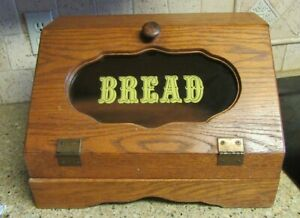 Vintage WOODEN BREAD BOX with Cutting Board