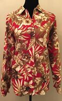 Oleg By Cassini Womens Blouse Size Medium Red Tropical Floral Long Sleeve Linen