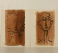 Fernand Schlegel (1920-2002) Paire d'aquarelles portraits cubistes 1960 signés