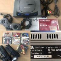 Sega Saturn game console + 2 controllers & Virtual guns + 7 games SS from Japan