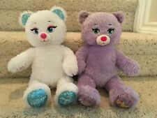 Build A Bear 2014 Frozen Sparkle Bears White Elsa Purple Anna Stuffed Animal Toy