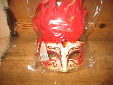 FACE MASK RED FEATHERS  BALL SCHOOL LEAVERS PARTY THEMED DRESSING UP FANCY DRESS