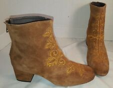 NEW FREE PEOPLE ESTELLA BROWN EMBROIDERED SUEDE HEELED ANKLE BOOTS 8 EUR 38