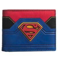 DC COMICS SUPERMAN RUBBER LOGO PU FAUX LEATHER RETRO MENS BIFOLD WALLET BLUE RED