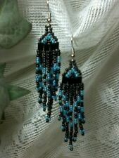 Black and Light Blue Dangle Seed Bead Earrings With Silver Plated Hooks A16-6
