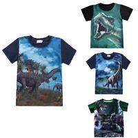 Toddler Kids Baby Boys Summer Short Sleeve Cartoon Dinosaur Print T shirt Tops