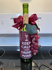 "Decorative Light Up Wine Bottle ""Keep Calm And Drink Wine"" EUC!"