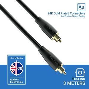 Azatom Optical Cable Lead 24K Gold-Plated Digital Audio Toslink Soundbar 3M