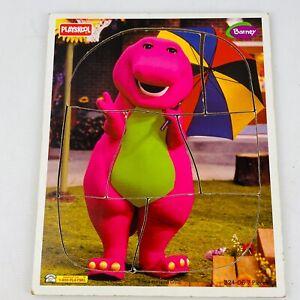 Vtg Playskool Barney Wood Tray Puzzle 7 Pieces 1996 Purple Dinosaur Umbrella