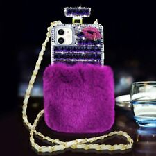 Bling Plush Perfume Bottle Diamonds Case With Crossbody Strap For iPhone Samsung