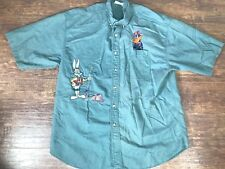 Vintage Acme Clothing Looney Tunes Green Short Sleeve Fishing Shirt Sz Large
