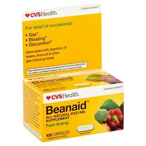 CVS Beanaid Fast Acting ~ Prevention Bloating Relief  100 Capsules 100% Natural