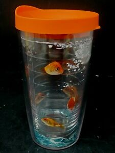 Tervis Tumbler 16oz Goldfish Koi Gold Fish Orange Travel Lid NEW Bubbles