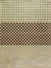 Decopatch Decoupage Printed Paper Brown Polka Dot Plaid Stripes