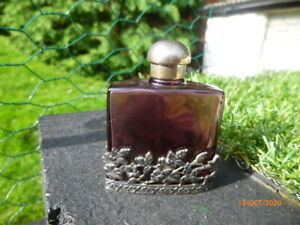 LOVELY  : GLASS * PERFUME BOTTLE : IN A SILVER COLOUR DETAILED SURROUNDING !!
