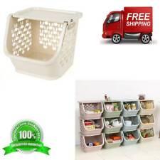 Stackable Kitchen Plastic Storage Basket Bathroom Shelf(Beige) NEW