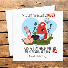 Steak and Blow Job Card BJ Blowjob Male Valentines Day Medium Rare Sexy Funny