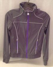 IVIVVA Trail Runner Gray Purple Windbreaker Jacket Girl's Sz 10 Removable Hood