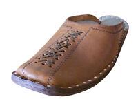 Men Shoes Indian Jutties Flip-Flops Handmade Leather Clogs Brown UK 6.5 EU 40