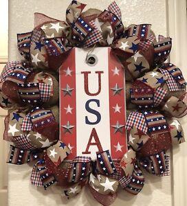 FARMHOUSE USA Burlap DECO MESH Wreath 4TH OF JULY Dog Tag RUSTIC PATRIOTIC 22X22