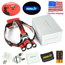 50w XM-L2 3xLED Headlamp USB Rechargeable Flashlight Fishing Head Torch 2X18650