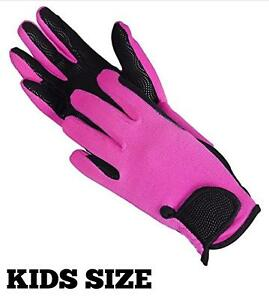 Childrens Pink Horse Riding Gloves Synthetic Leather Cotton Dublin Kids