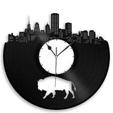 Buffalo Vinyl Wall Art Clock Cityscape Retro Decor Collectible Vintage Record