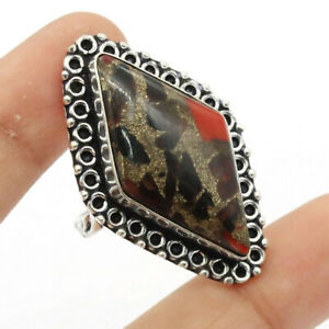 Copper Garnet & Red 925 Silver Plated Handmade Gemstone Ring of US Size 9 Ethnic