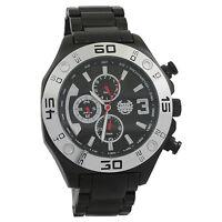 Mens Watch Black Metal Bracelet Multifunction Day Date Big Face Reloj de Hombres