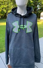 UNDER ARMOUR Mens 2XL XXL STORM Hoodie Loose Big Logo Gray Neon Green Sweatshirt