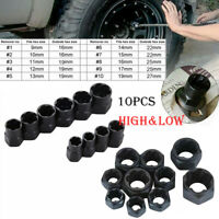 10x High/Low Bolt Nut Remover Extractor Kit Damaged Stripped Socket Wrench Set#G
