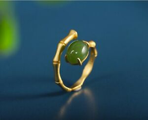 I03 Ring Top Bamboo Look Garden Green Jade Gilded Silver 925 Adjustable Size