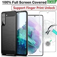 Samsung S21 Case Armor Cover + Tempered Glass Screen Protector For Galaxy S21 5G