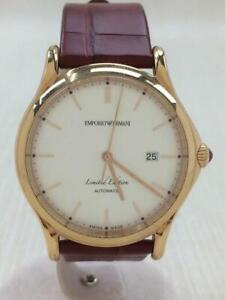 EMPORIO ARMANI  Self-Winding Leather Cream Bordeaux  Wrist watch From Japan