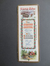 Antique Greetings BOOKMARK CHRISTMAS Yuletide Wishes Holly Snowy Scenes OLD