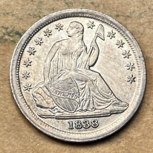 1838 Seated Liberty Dime  Choice UNC  MS/BU