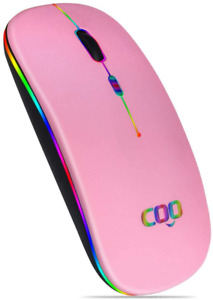 2.4G Bluetooth Wireless Mouse, LED Slim Mouse Dual Mode with 3 Adjustable DPI
