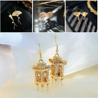 Earrings Drop Jewelry Chinese Fan 18k Gold Plated A Pair/set for Women
