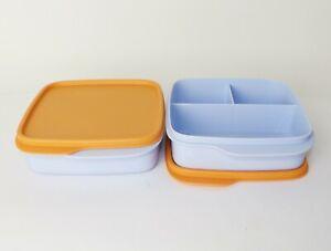 TUPPERWARE Lunchbox Clevere Pause 2x 550ml Hellblau mit Deckel Orange