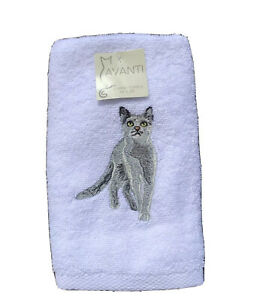 Avanti 2 pack hand towels white with embroidered gray cat gift cat lover