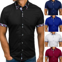 Men's Short Sleeve Summer Checks Collar Shirts Casual Slim Fit Dress Shirt Top