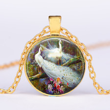 """PEACOCK FEATHER crystal charm pendant GOLD FILLED 18K necklace 20"""" chain female"""