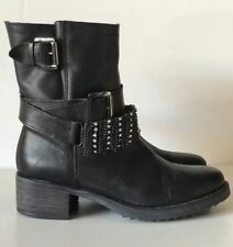 CHARLES DAVID Black Leather Jeweled Harness Ankle Boots Size 38 ITALY