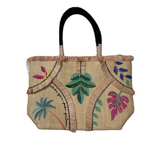 Stella & Dot Straw Beach Tote Bag  Palm Trees Embroidered Shake Your Palm Palms