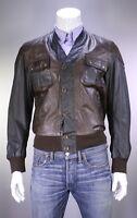 Belstaff New Gold Label Dark Brown 'Advent' Leather Cardigan Jacket Men's M