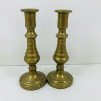 ANTIQUE VINTAGE BRASS CANDLESTICKS SHORT 12.5CM TALL