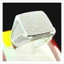 Round Diamond ring for Men Cluster Gemstone Wedding Engagement Band White Gold